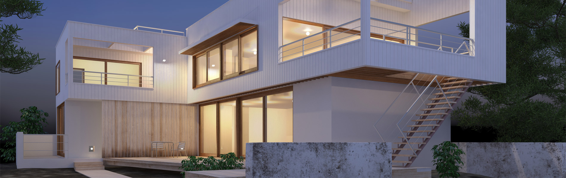 Modern home with rendered exterior and walls